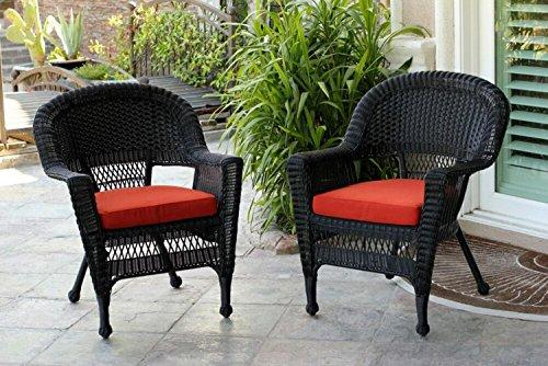 Set of 4 Black Resin Wicker Outdoor Patio Garden Chairs with Red Cushions - 36""