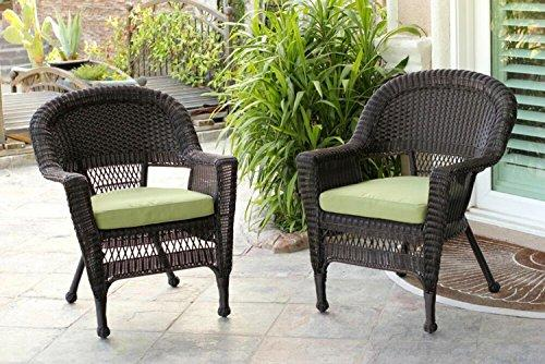 Set of 4 Espresso Brown Resin Wicker Outdoor Patio Garden Chairs - Green Cushions