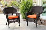 Set of 4 Espresso Brown Resin Wicker Outdoor Patio Garden Chairs - Orange Cushions