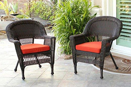 Set of 4 Espresso Brown Resin Wicker Outdoor Patio Garden Chairs - Red Cushions