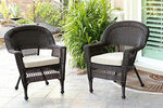 Set of 4 Espresso Resin Wicker Outdoor Patio Garden Chairs - Brown Cushions