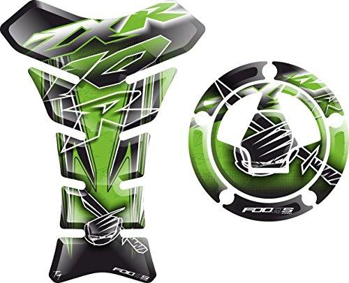 Set tankpad + cappad motorcycle Fuel Tank 3 d 3d Gel Decal Gas Cap Pad Cappad Cap-pad Cover Sticker Tankpad Tank Pad Tank-pad for Kawasaki ZX10R ZX 10 ZX10 Z X 10 R (Green)