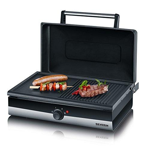 Severin PG 2368 Contact 2200 W Black Electric Barbecue Table Grill and Sandwich Maker