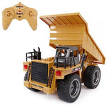 SGILE 6 Channel RC Dump Truck Toy, Full Function Remote Control Construction Vehicle Excavator with Lights and Sound, Best Gift for Kids Children