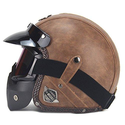 SHANLY Unisex Adult's Motorbike Half Helmets Open Face Cycling BMX Off-road Open-Face Leather ECE/DOT Certified Motorcycle Helmet With Mask,Brown-M