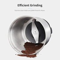SHARDOR Coffee Grinder Electric 200W, Removable Bowl with Stainless Steel Blade, Grinder for Coffee Bean Spice Seed Nut Herb Pepper, 70g, Black
