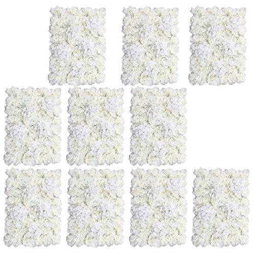 Sharplace 10 Pieces Romantic Artificial Flowers Wall Panel Wedding Venue Floral Decor-Cream