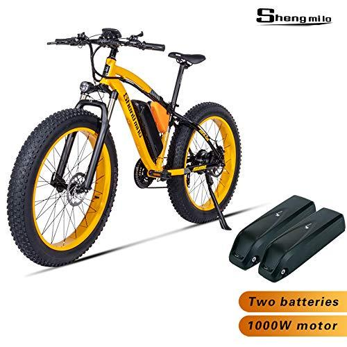 Shengmilo-MX02 26inch Fat Tire Electric Bike 1000W / 500W Beach Cruiser Mens Women Mountain e-Bike Pedal Assist 48V 17AH Battery (Yellow (two battery), BAFANG 500W Motor)
