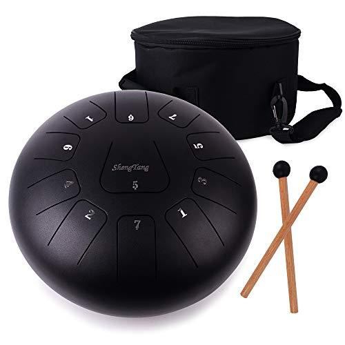 ShengTang Steel Tongue Drum 12 Inch 11 Notes Black with Padded Travel Bag and Mallets,Tank Drum Chakra Drum,Percussion Hang Drum Instrument