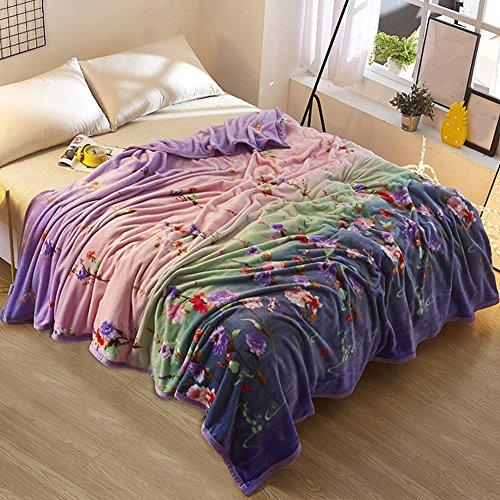 ShineMoon Home Outdoor Super Soft Baby Adults Plush Fleece Blanket Elegant Floral Pattern Bedspreads Sofa Throws Double King Size, 200x230cm