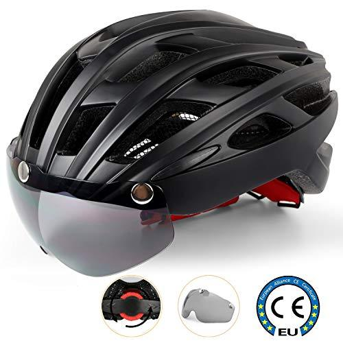 Shinmax Cycle Helmet/Bike helmet with LED Light,CE Certified Helmet with Detachable Magnetic Visor Bike Helmet Adult Bike Helmet with Detachable Visor and Liner Ski & Snowboard