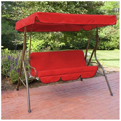 Shopisfy Waterproof Replacement 2 Seater Canopy Cover & Bench Pad Set ONLY for Swing Seat / Garden Hammocks - Red