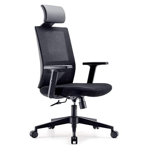 SIHOO Ergonomic Office Chair, Adjustable PU Headrest and Armrest's Swivel Chair carrying Back Support, Durable and Black