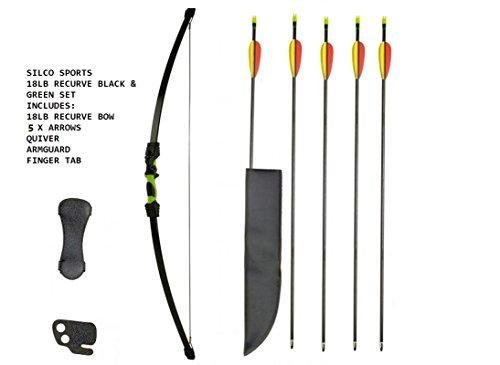 SILCO Child Kids Black & Green Recurve Archery Bow 18Lbs Pack with 5 Arrows