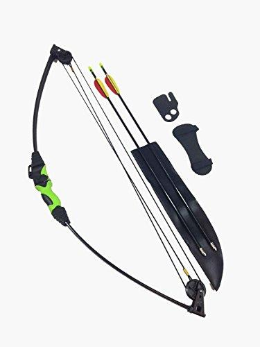 SILCO Kids Black & Green Compound Archery Bow Set - EXTRA ARROWS & TARGET FACES BY SILCO