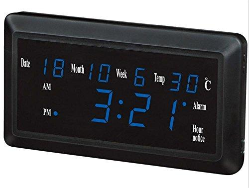 Silent LED Alarm Snooze Clock Date Temperature Calendar Thermometer Display with Digital Nightlight 1.8 inches , blue