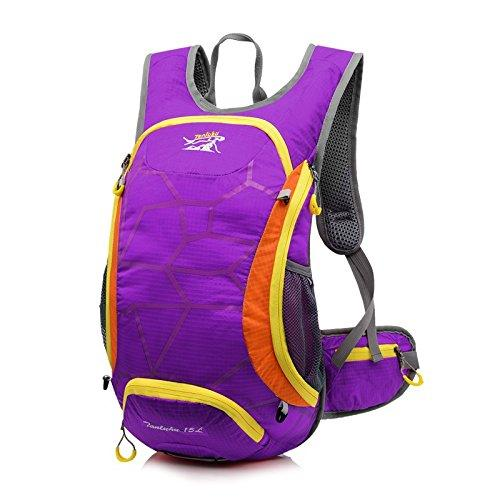 Simmia Sport Waterproof Bicycle Backpack,Mountain bike bicycle riding backpack with helmet mesh cover, purple