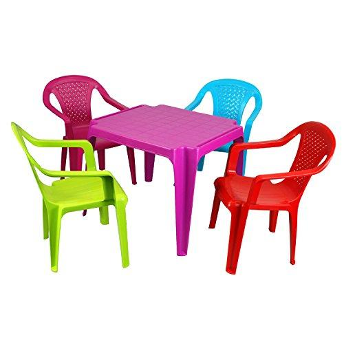 simpa Children's PINK Plastic Table & 4 Chair Set - Plastic Multicolour Indoor or Outdoor Children's Furniture Nursery Activity Study Garden Unisex Furniture - Choose from 2 sets.
