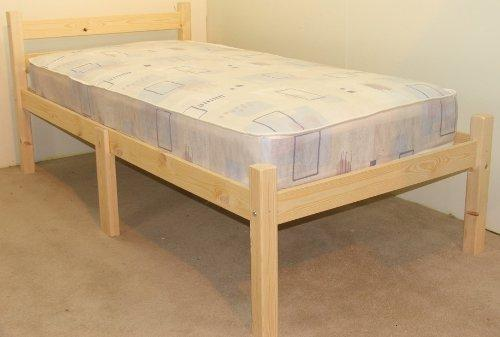 Single 3ft Wooden Pine Bed Frame - Can be used by Adults - Strong siderail support legs included - INCLUDES 15cm thick sprung mattress