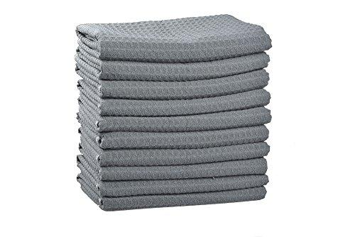 Sinland Microfibre Waffle Weave Kitchen Towels Dish Drying Towels Dish Cloths 380 gsm 10 Pack 40cmx60cm Grey