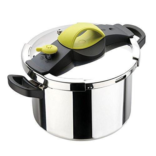 Sitram Sitrapro Pressure Cooker with Steamer Basket Stainless Steel, green, 8L