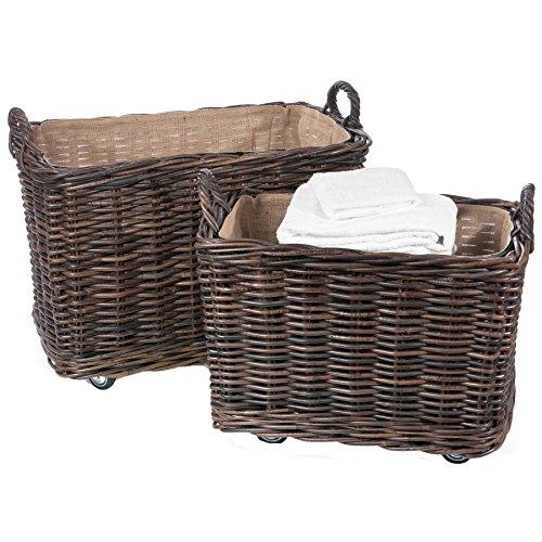 Skalny 2 Piece Krabu Rectangle Rattan Storage Container with Wheels & Jute Liner, 25.5 x 15.75 x 20.5/29.5 x 19.75 x 23.5
