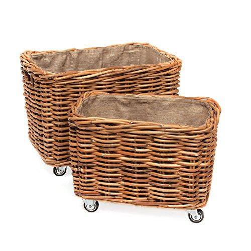Skalny 2 Piece Rectangle Rattan Storage Container with Wheels, 27.5 x 17.25 x 20.25/32.25 x 22 x 23.5