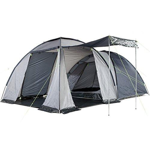 Skandika Bergen Dome Tent with Large Living Area, 1 Sleeping Cabin and 3000 mm Water Column, Blue/Silver, 4-Berth