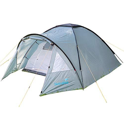 Skandika Dale 3 Person Dome Tent with Front Porch & Window & Mosquito Mesh in the Sleeping Cabin