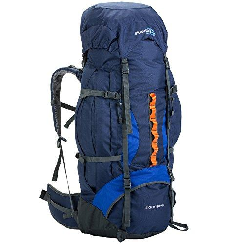skandika Eiger 80+10 litre trekking Rucksack (backpack) with adjustable carry system, signal whistle and integrated rain cover (Blue/Orange)
