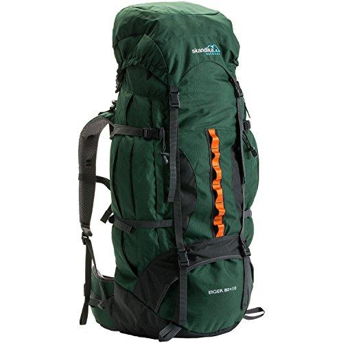 skandika Eiger 80+10 litre trekking Rucksack (backpack) with adjustable carry system, signal whistle and integrated rain cover (Green/Orange)