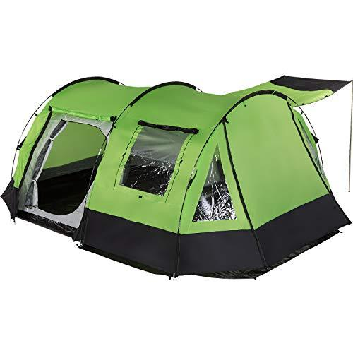 Skandika Kambo Tunnel Family Tent with 3 Entrances, Sun Canopy, 3000 mm Water Column, 4-Person (Green)