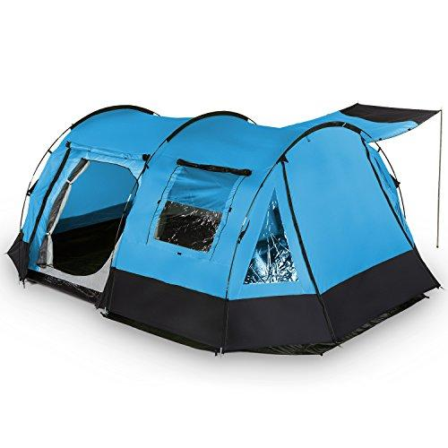 Skandika Kambo Tunnel Family Tent with 3 Entrances, Sun Canopy, 3000 mm Water Column, Light Blue/Black, 4-Person