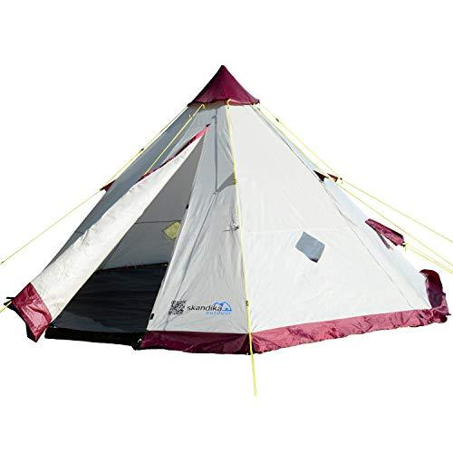 Skandika Teepee 200 Wigwam Style Indiana Pyramid Desert Tent, 200 cm Peak Height, 3000 mm Water Column, Beige/Burgundy, 6-Person