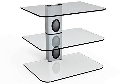 Sky Box Wall mount bracket Silver Column,Silver DVD Wall Bracket, Silver DVD Wall Mount and 3 x Floating clear glass shelves