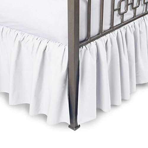 Sleepwell White Solid, Super King Size Ruffled Bed Skirt 36 cm Drop Split Corner,100 Percent Pure Egyptian Cotton 400 Thread Count, Wrinkle & Fade Resistant