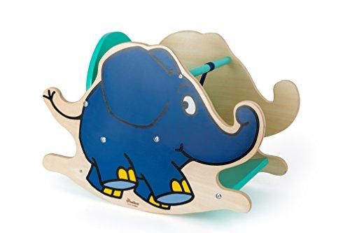 Small Foot Design 10819 Wooden Rocker in The Shape of The Elephant from Die Maus, Fixed backrest and Low Well as a Practical seat Height for Safe Rocking, Trains The Motor Skills and Coordination