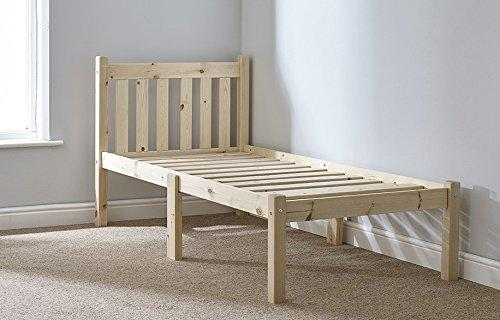 Small Single 2ft 6 pine bed frame Heavy Duty - Complete with extra wide solid base slats - Chunky 60mm Corner Posts
