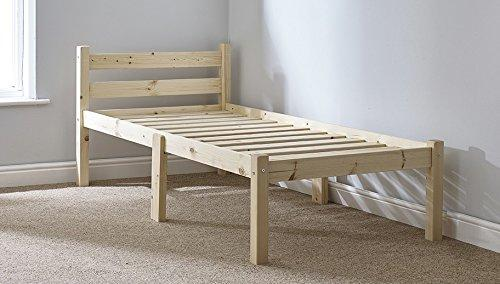 Small Single 2ft 6 Wooden Pine Bed Frame - Can be used by Adults - Strong siderail support legs included - INCLUDES 15cm thick sprung mattress