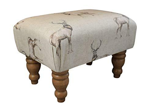 Small Stag Print Animal Footstool - Hard Wood Turned Waxed Legs - Quality Materials - Medium Density Foam