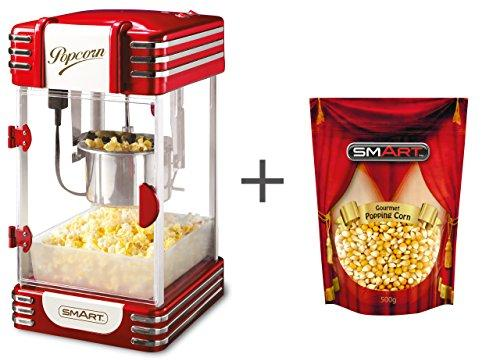 SMART Kettle Popcorn Machine Bundle with Free Bag of Gourmet Popping Corn - Retro Gourmet Popcorn Maker - Kettle (Large 4oz) Oil Popcorn Popper - Retro Red RKP530