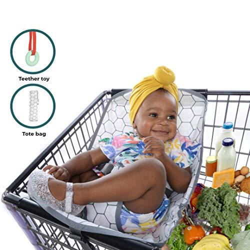 SmartBebe Baby Shopping Cart Hammock for Shopping Trolley, Baby Hammock with Tote Bag and Non-Toxic Teether Toy, Stylish Cart Hammock, Baby Carrier for Newborn Boys and Girls with Rather Clever Mums