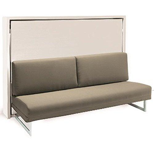 SMARTBEDS Cabinet Houdini Cross Slash Matt White Tweed Fabric Taupe Sofa Bed Sleeping 140 * 19 * 200 cm