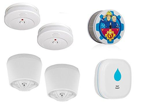Smartware 2 Room Home Wireless Alarm Kit (Smoke, Heat Water) Safe for Home Security for Home