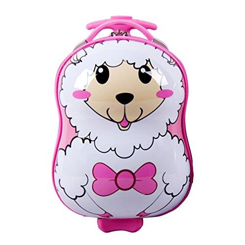 SMJM 12 Inch ABS Hard Side Cartoon Kid's Luggage with Wheels for Girls and Boys (Alpaca)