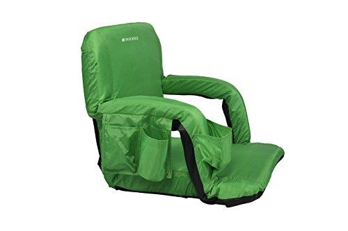 Snocreeq Portable Extra Wide Reclining Stadium seat Folding Sport Chair for Bleachers Benches Cushion Padded Back&armrests, Slip-&Water-Resistant, Easy-Carry Straps.(Green)