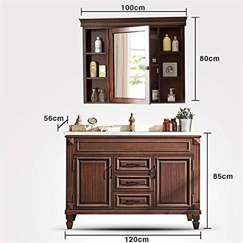 SNOLEK American Bathroom Cabinet Oak Mirror Cabinet Combination, Bathroom Floor Bathroom Cabinet Combination Vanity Modern Minimalist MODEL H