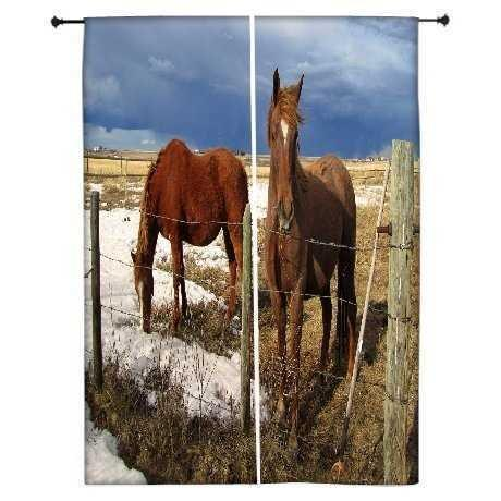 "Snoogg Black Parental Horse Polyester Drapes Blackout Curtains 30 "" W x 60 "" L ( Set of 2 Panels )"