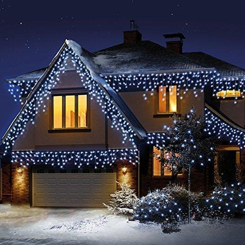 snowing icicle christmas lights led clear cable white 240 led