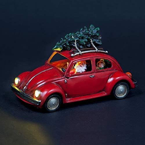 Snowtime Santa Driving Beetle Lit Car With Christmas Tree | Battery Operated